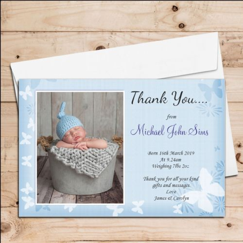 10 Personalised Baby Boy Butterfly Birth Announcement Thank you PHOTO cards N52
